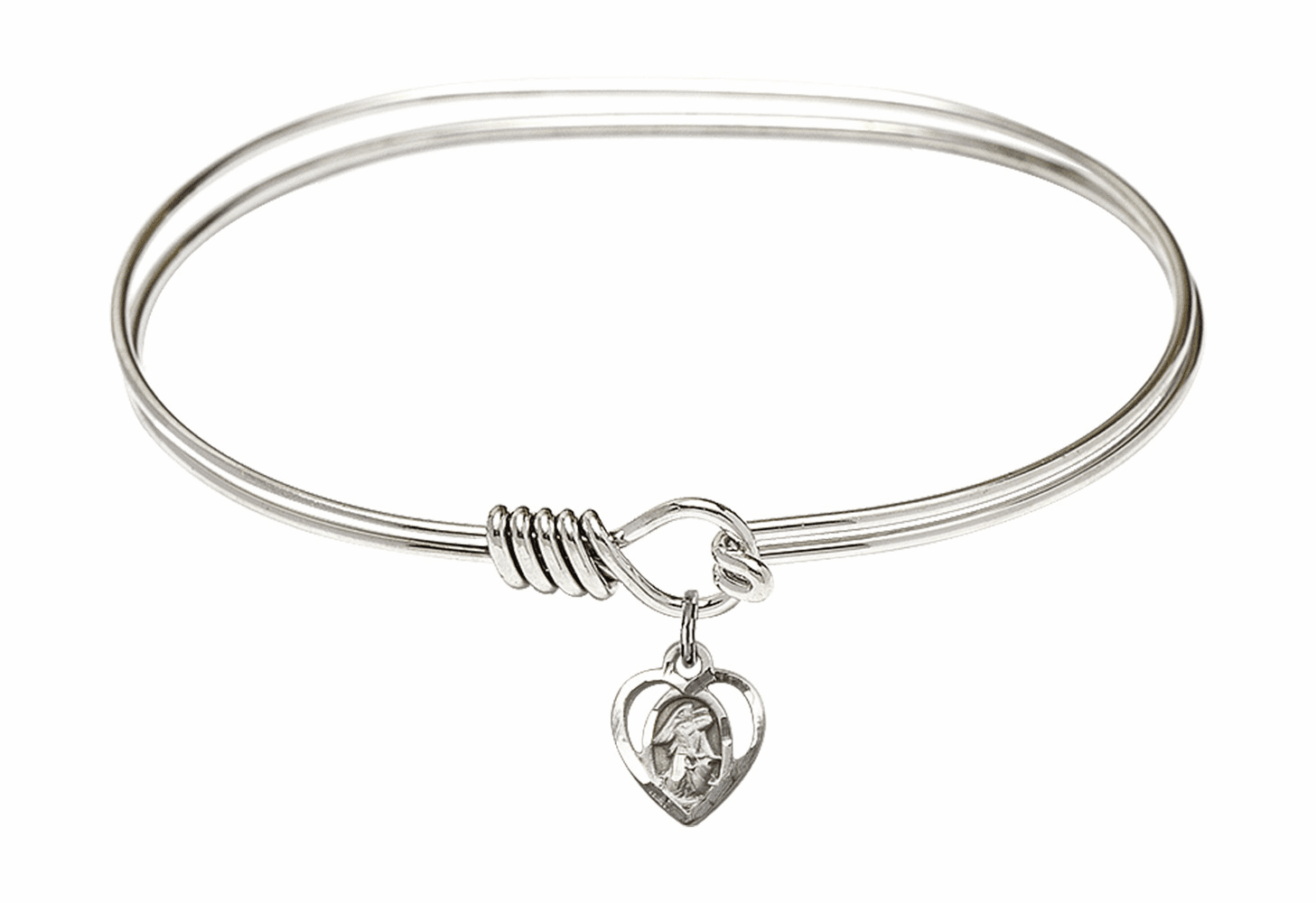Round Eye Hook Bangle Bracelet w/Guardian Angel Heart Sterling Silver Charm by Bliss Mfg
