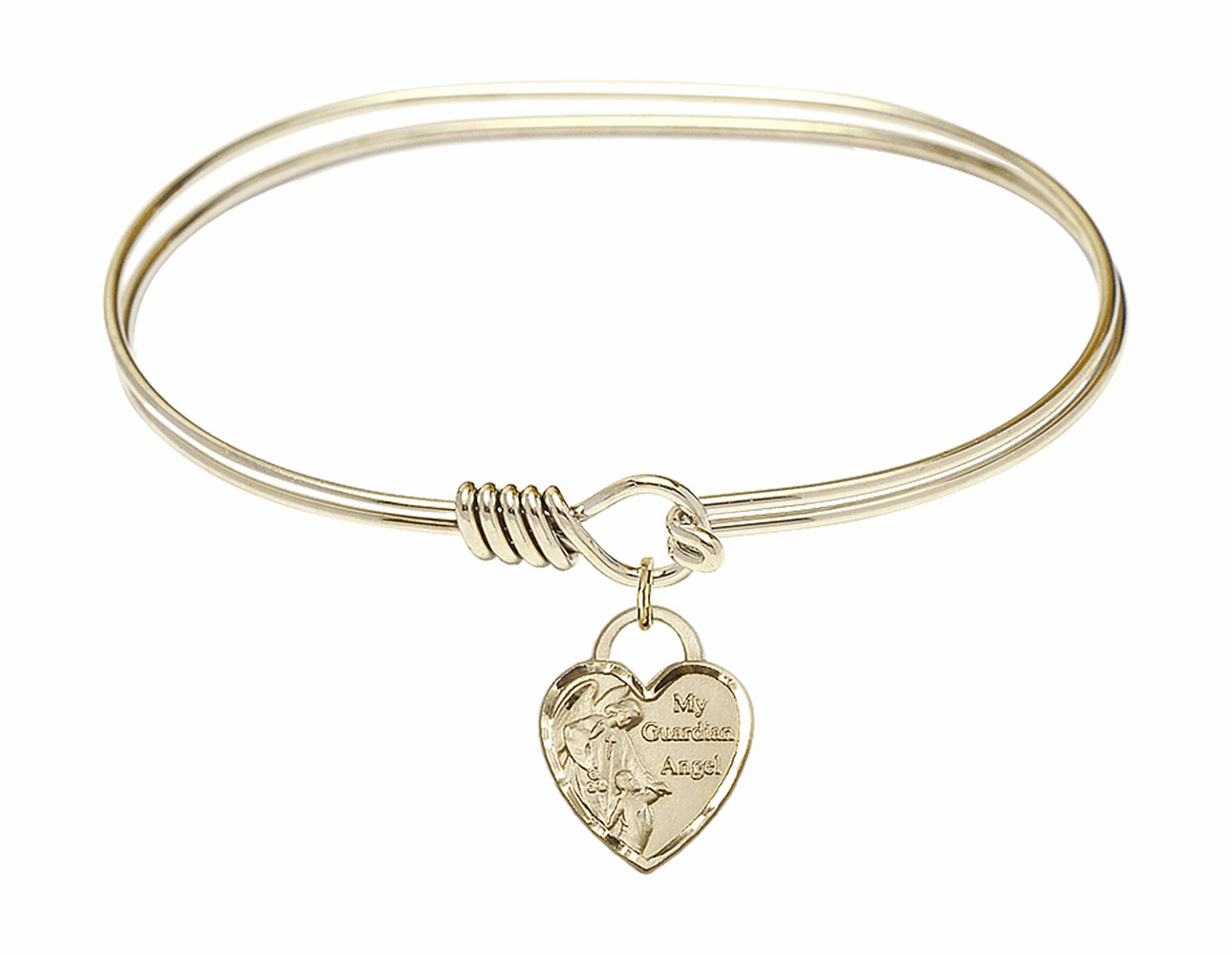 Round Eye Hook Bangle Bracelet w/Heart My Guardian Angel Charm by Bliss Mfg