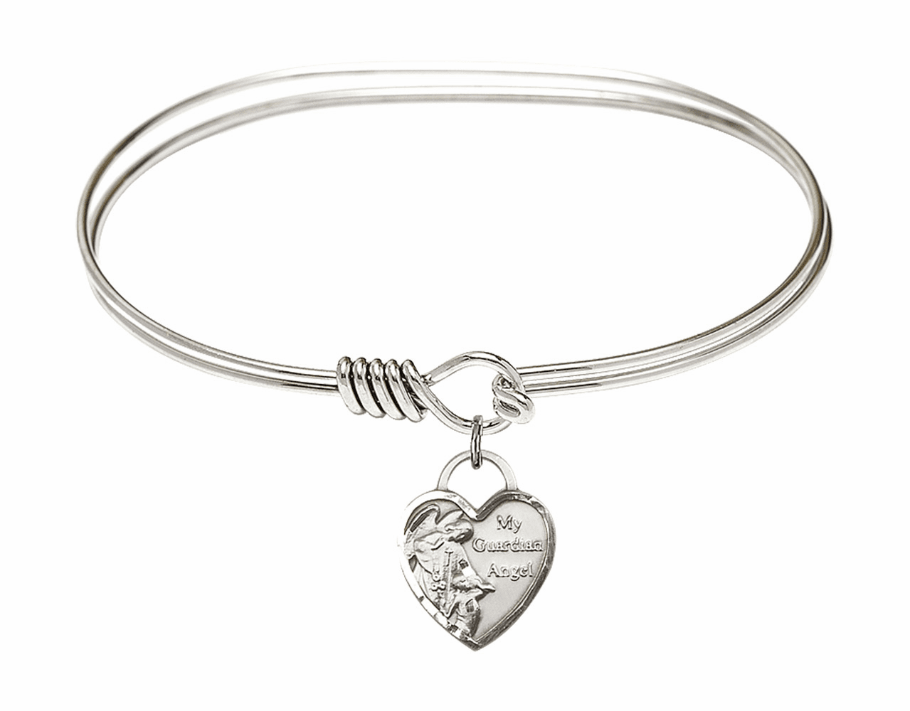 Round Eye Hook Bangle Bracelet w/Heart My Guardian Angel Sterling Silver Charm by Bliss Mfg