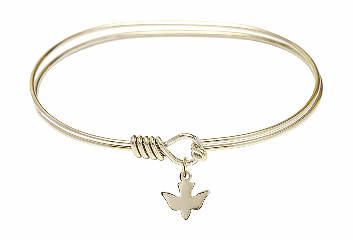 Round Eye Hook Bangle Bracelet w/Holy Confirmation Dove 14kt Gold-filled Charm by Bliss Mfg