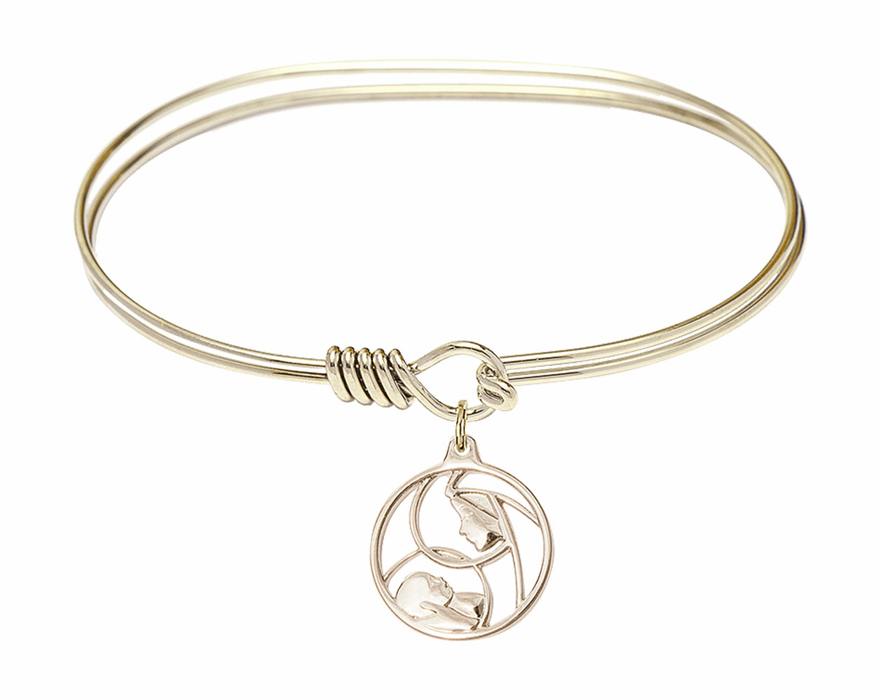 Round Eye Hook Bangle Bracelet w/Madonna and Child Charm by Bliss Mfg