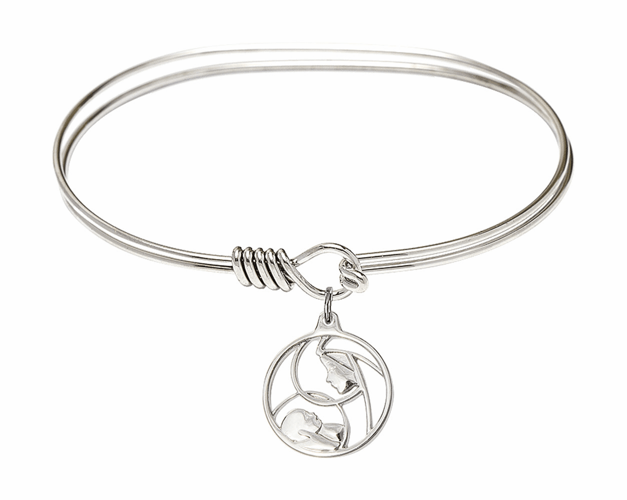 Round Eye Hook Bangle Bracelet w/Madonna and Child Sterling Silver Charm by Bliss Mfg