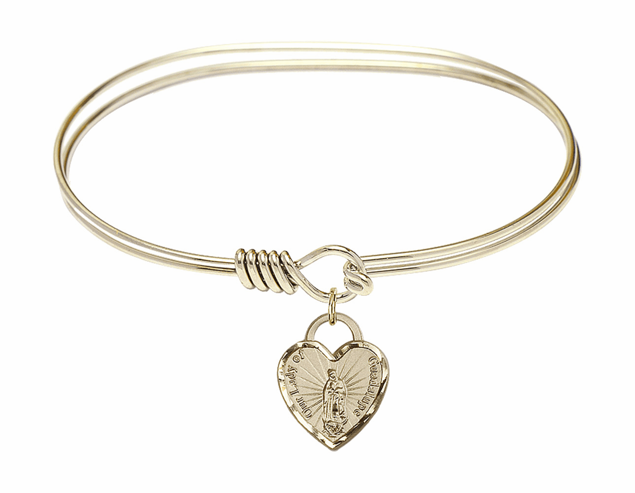 Round Eye Hook Bangle Bracelet w/Our Lady of Guadalupe Heart Charm by Bliss Mfg