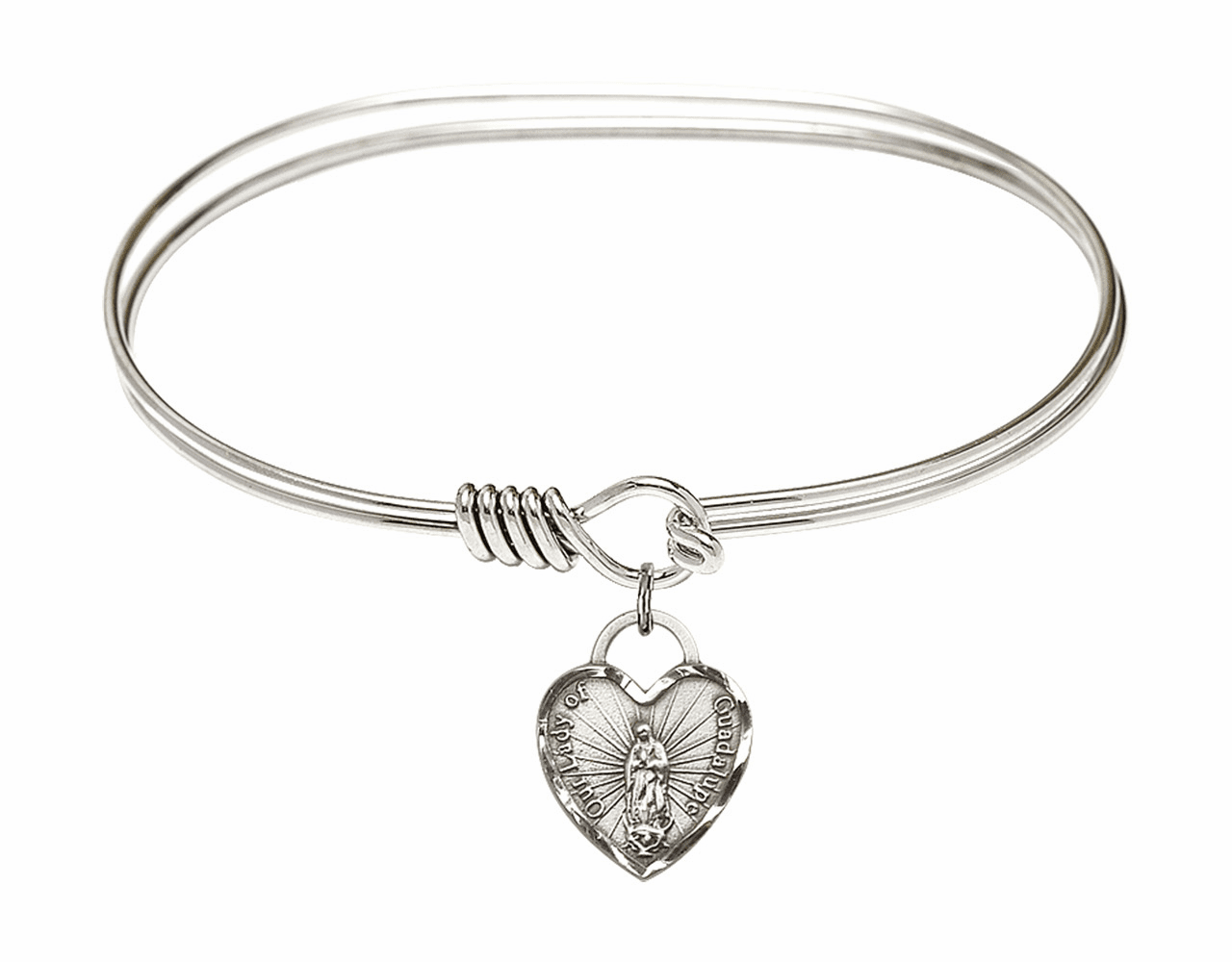 Round Eye Hook Bangle Bracelet w/Our Lady of Guadalupe Heart Sterling Silver Charm by Bliss Mfg