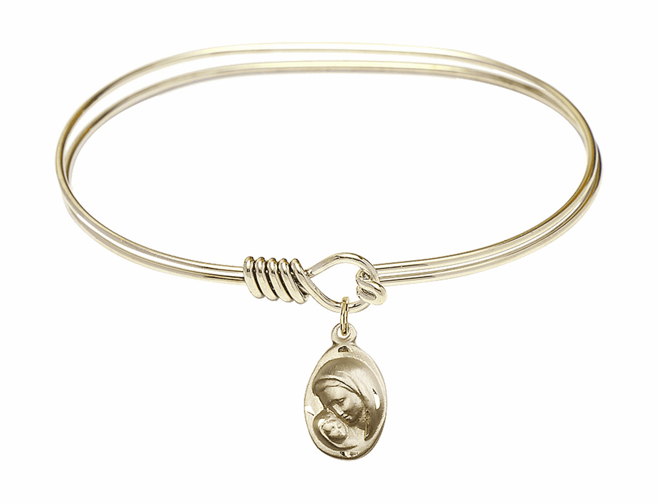 Round Eye Hook Bangle Bracelet w/Oval Madonna and Child Charm by Bliss Mfg