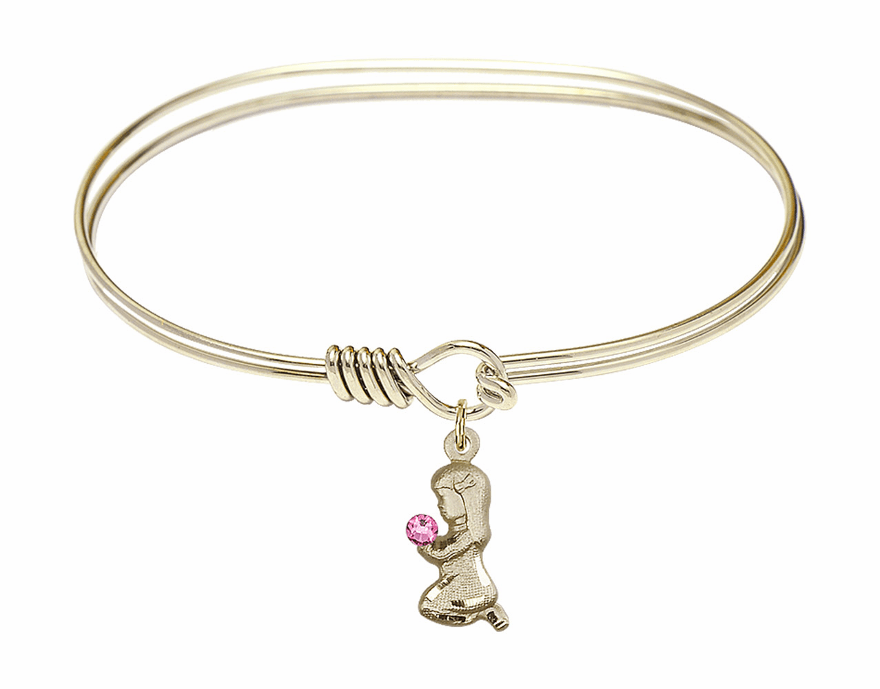 Round Eye Hook Bangle Bracelet w/Pink Crystal Praying Girl by Bliss Mfg