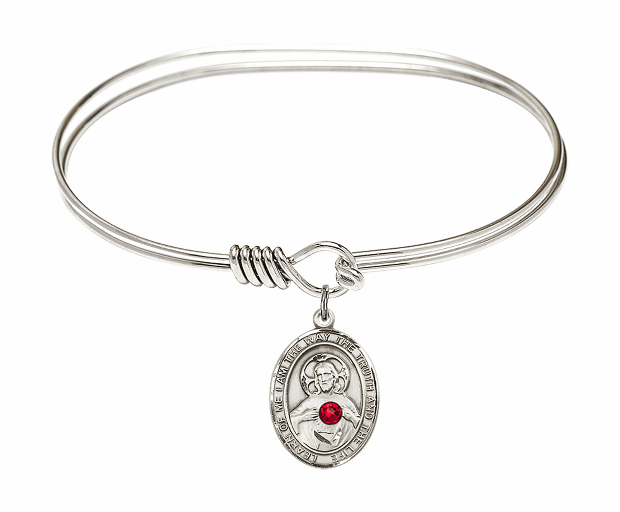Round Eye Hook Bangle Bracelet w/Red Crystal Scapular Sterling Silver Charm by Bliss Mfg