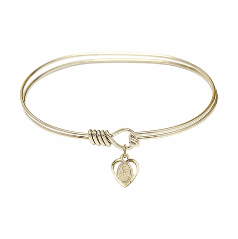 Round Eye Hook Bangle Bracelet w/Sacred Heart Charm by Bliss Mfg
