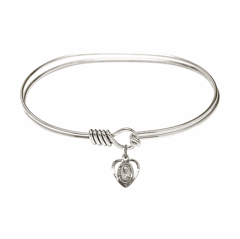 Round Eye Hook Bangle Bracelet w/Sacred Heart Sterling Silver Charm by Bliss Mfg