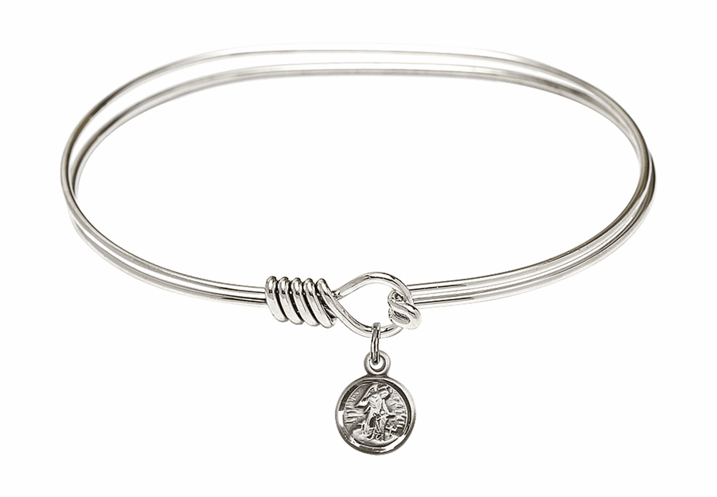 Round Eye Hook Bangle Bracelet w/Small Guardian Angel Sterling Silver Charm by Bliss Mfg