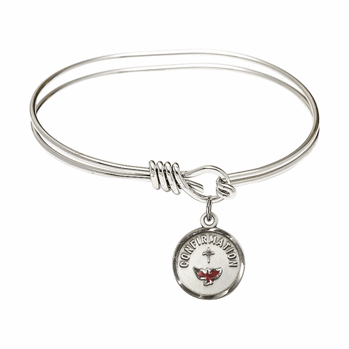 Round Eye Hook Bangle Bracelet with a Confirmation Charm by Bliss Mfg