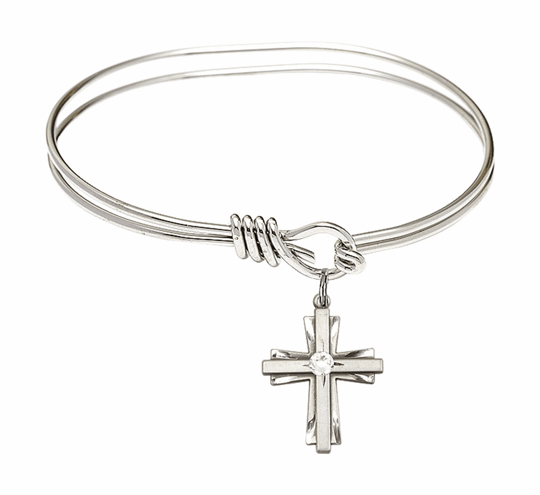 Round Eye Hook Bangle Bracelet with a Crystal Cross Charm by Bliss Mfg