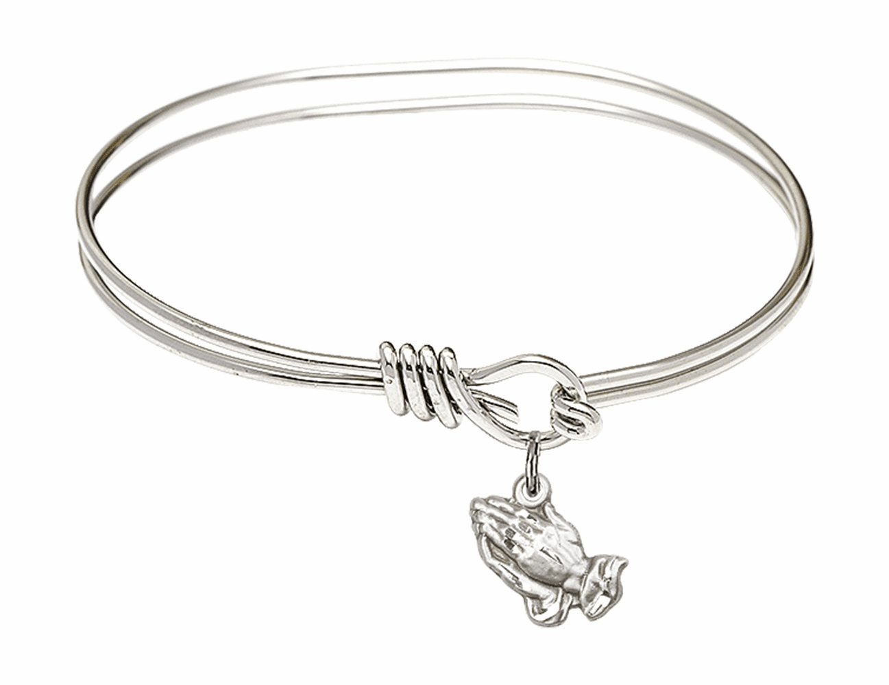 Round Eye Hook Bangle Bracelet with a Praying Hands Charm by Bliss Mfg