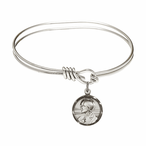 Round Eye Hook Bangle Bracelet with a Scapular Charm by Bliss Mfg