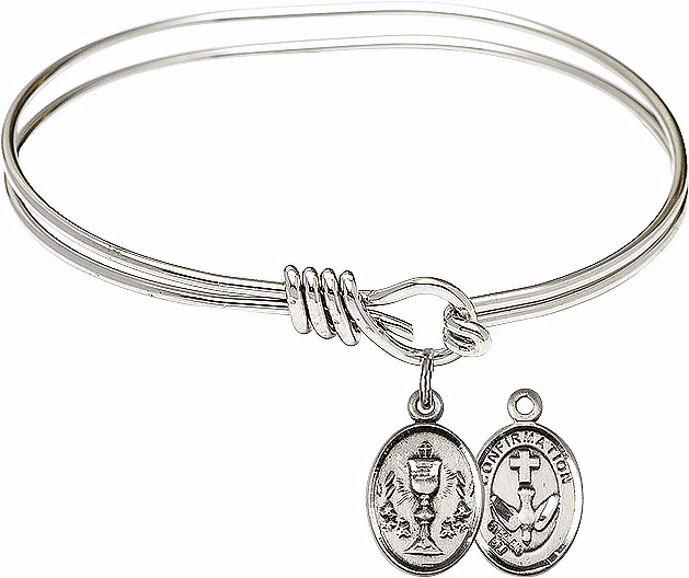 Round Eye Hook Chalice Confirmation Bangle Charm Bracelet by Bliss