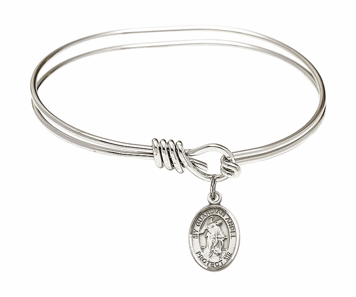 Round Eye Hook Guardian Angel Bangle Charm Bracelet by Bliss