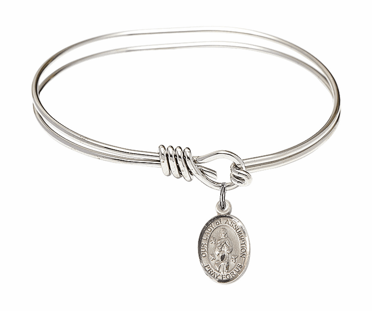 Round Eye Hook Our Lady of Assumption Bangle Charm Bracelet by Bliss