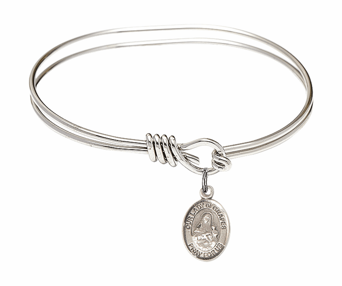 Round Eye Hook Our Lady of Grapes Bangle Charm Bracelet by Bliss