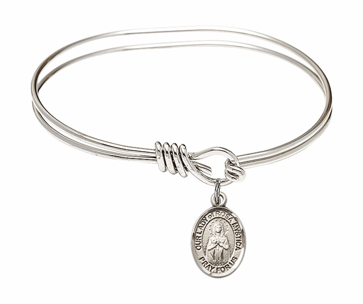Round Eye Hook Our Lady of Rosa Mystica Bangle Charm Bracelet by Bliss