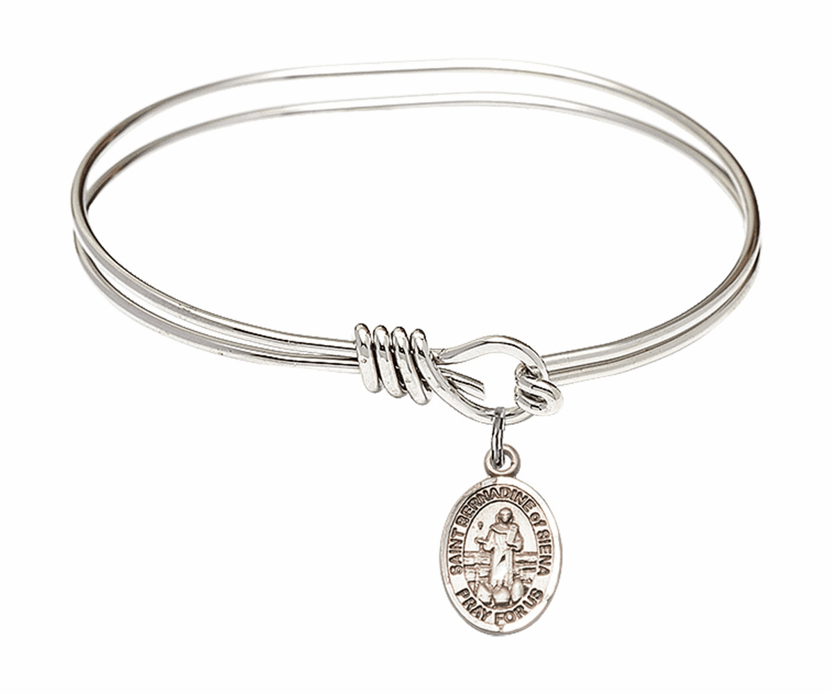 Round Eye Hook St Bernadine of Sienna Bangle Charm Bracelet by Bliss