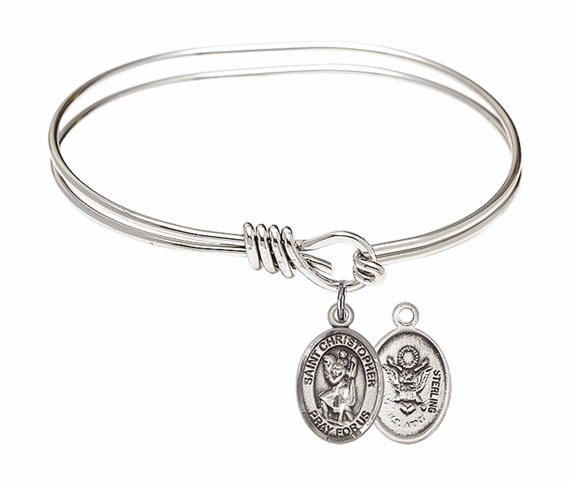 Round Eye Hook St Christopher Army Bangle Charm Bracelet by Bliss
