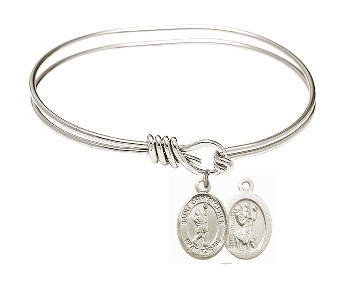 Round Eye Hook St Christopher Lacrosse Bangle Charm Bracelet by Bliss