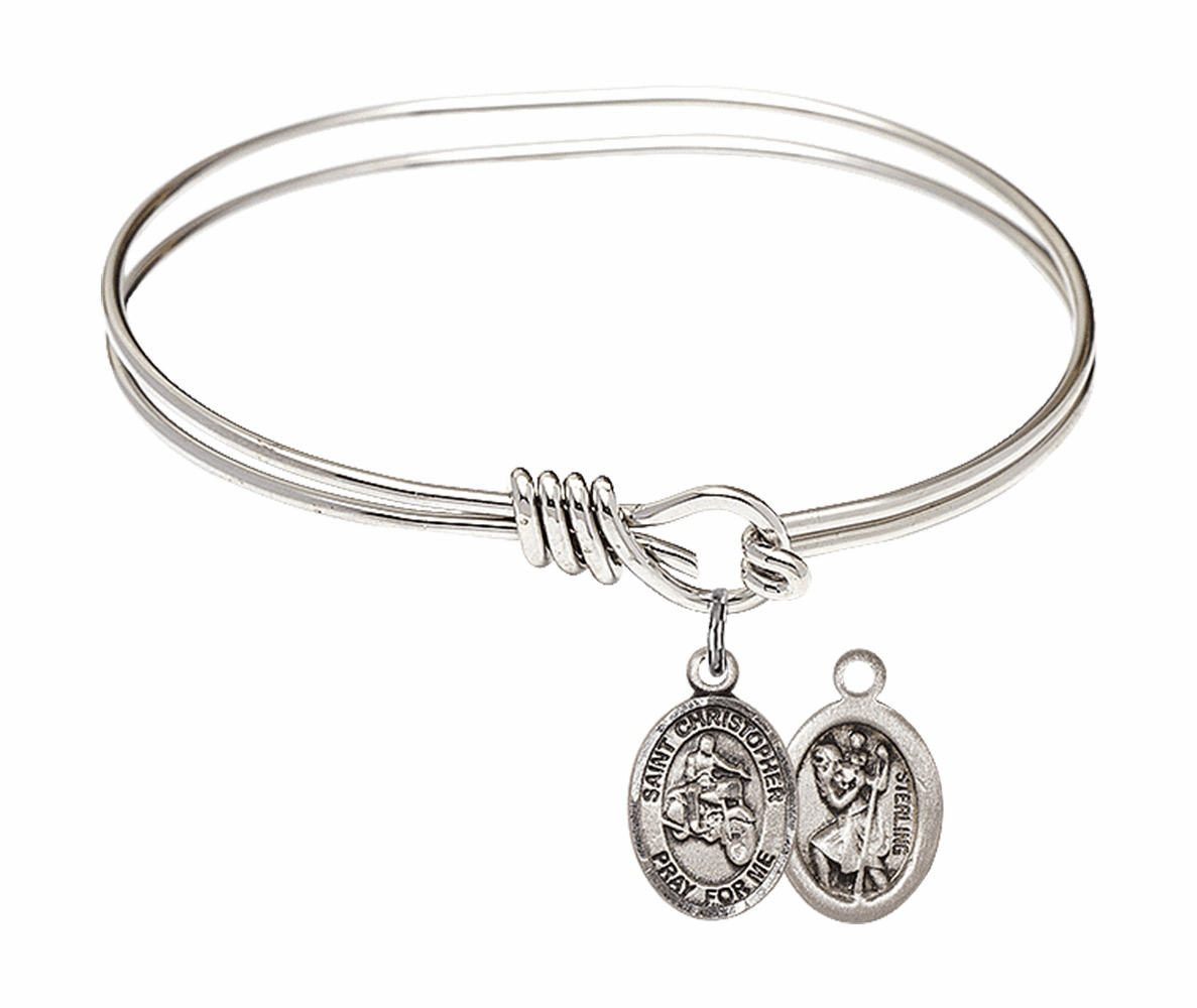 Round Eye Hook St Christopher Motorcycle Riding Bangle Charm Bracelet by Bliss