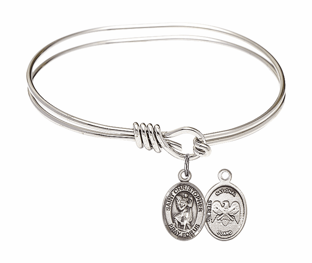 Round Eye Hook St Christopher National Guard Bangle Charm Bracelet by Bliss