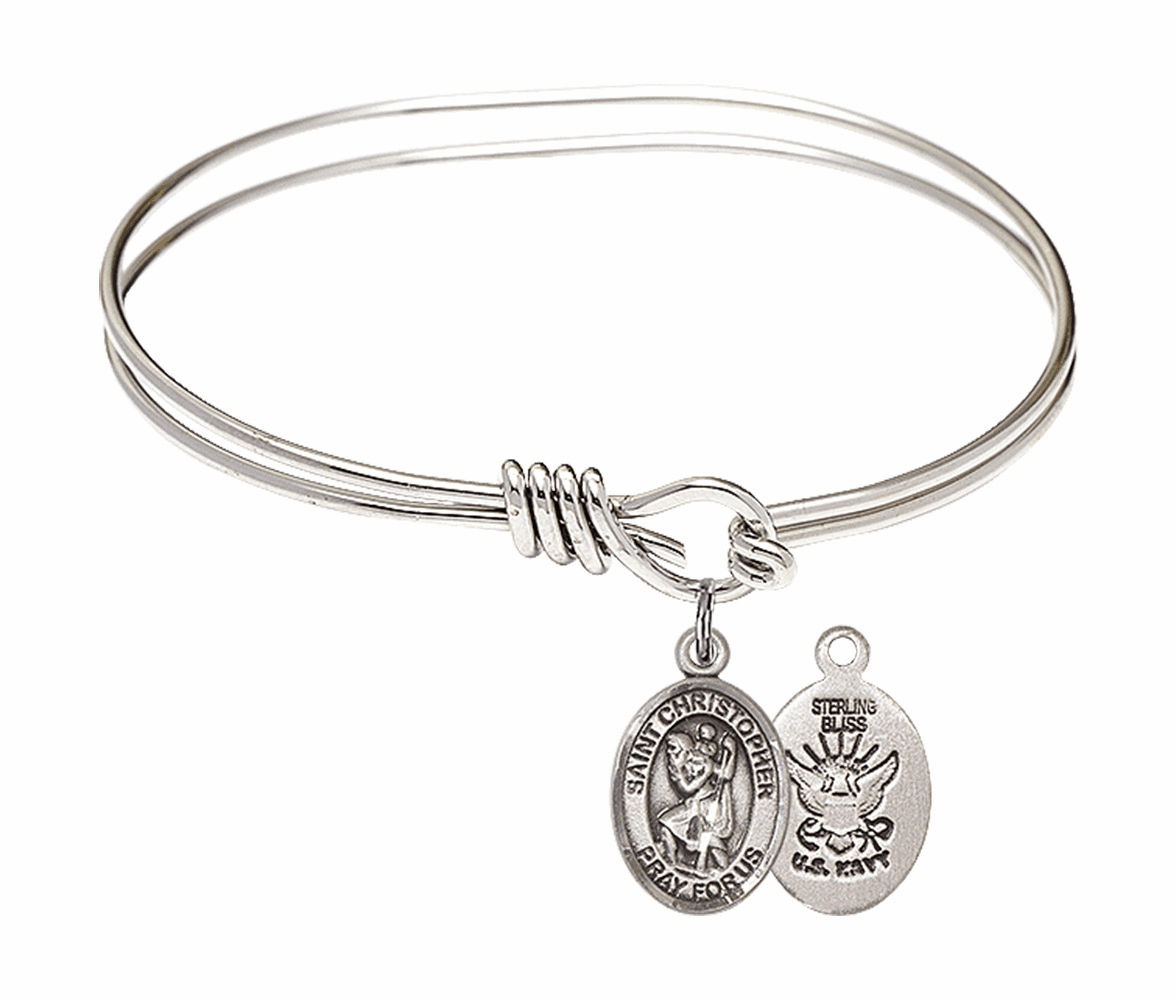 Round Eye Hook St Christopher Navy Bangle Charm Bracelet by Bliss