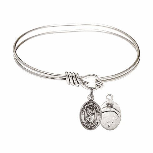 Round Eye Hook St Christopher Paratrooper Bangle Charm Bracelet by Bliss