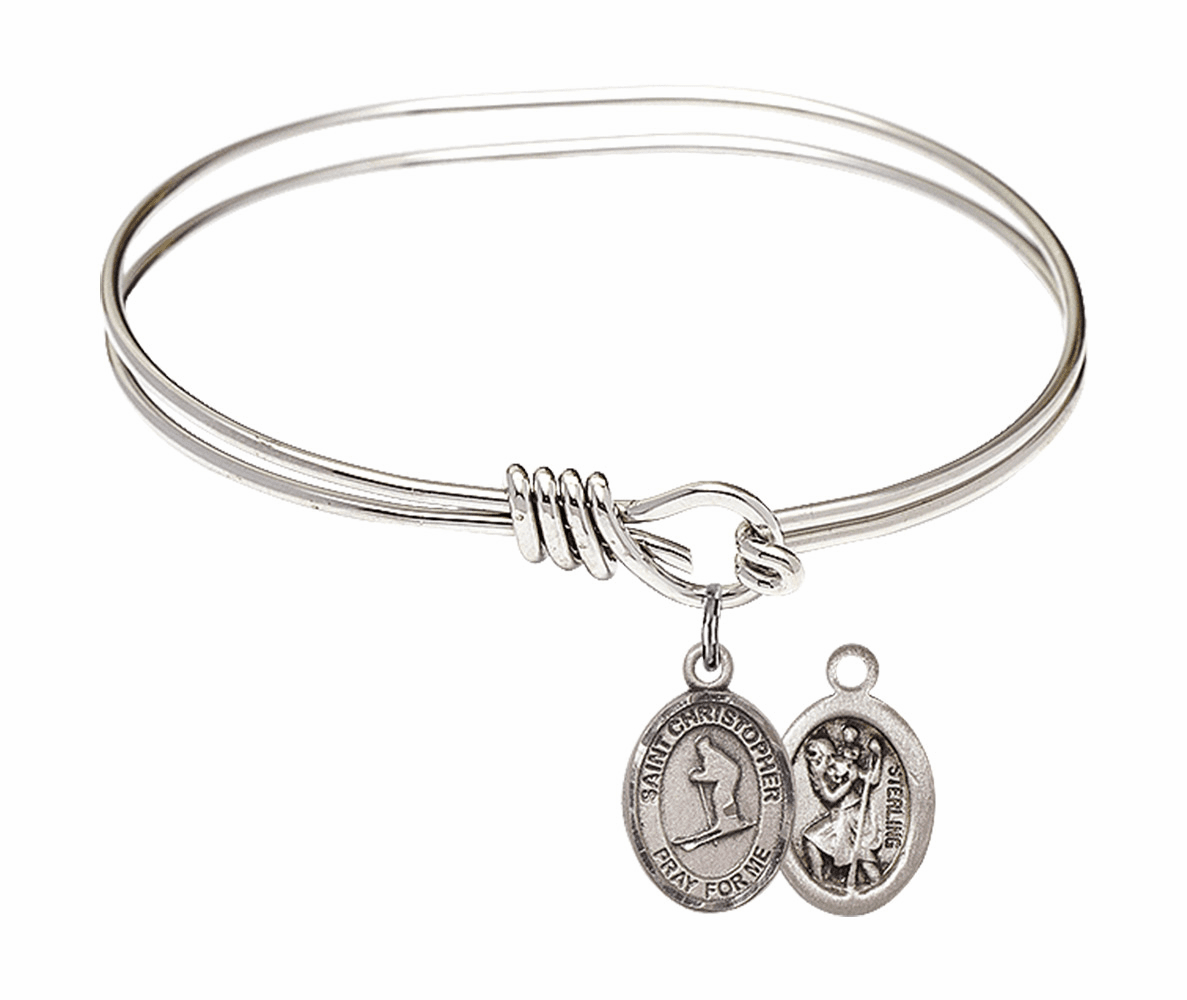 Round Eye Hook St Christopher Skiing Bangle Charm Bracelet by Bliss