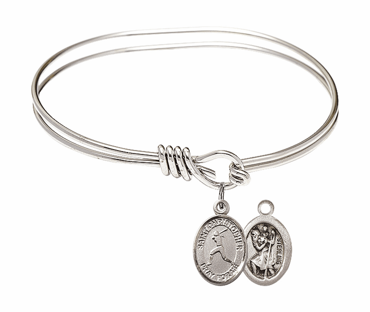 Round Eye Hook St Christopher Softball Bangle Charm Bracelet by Bliss