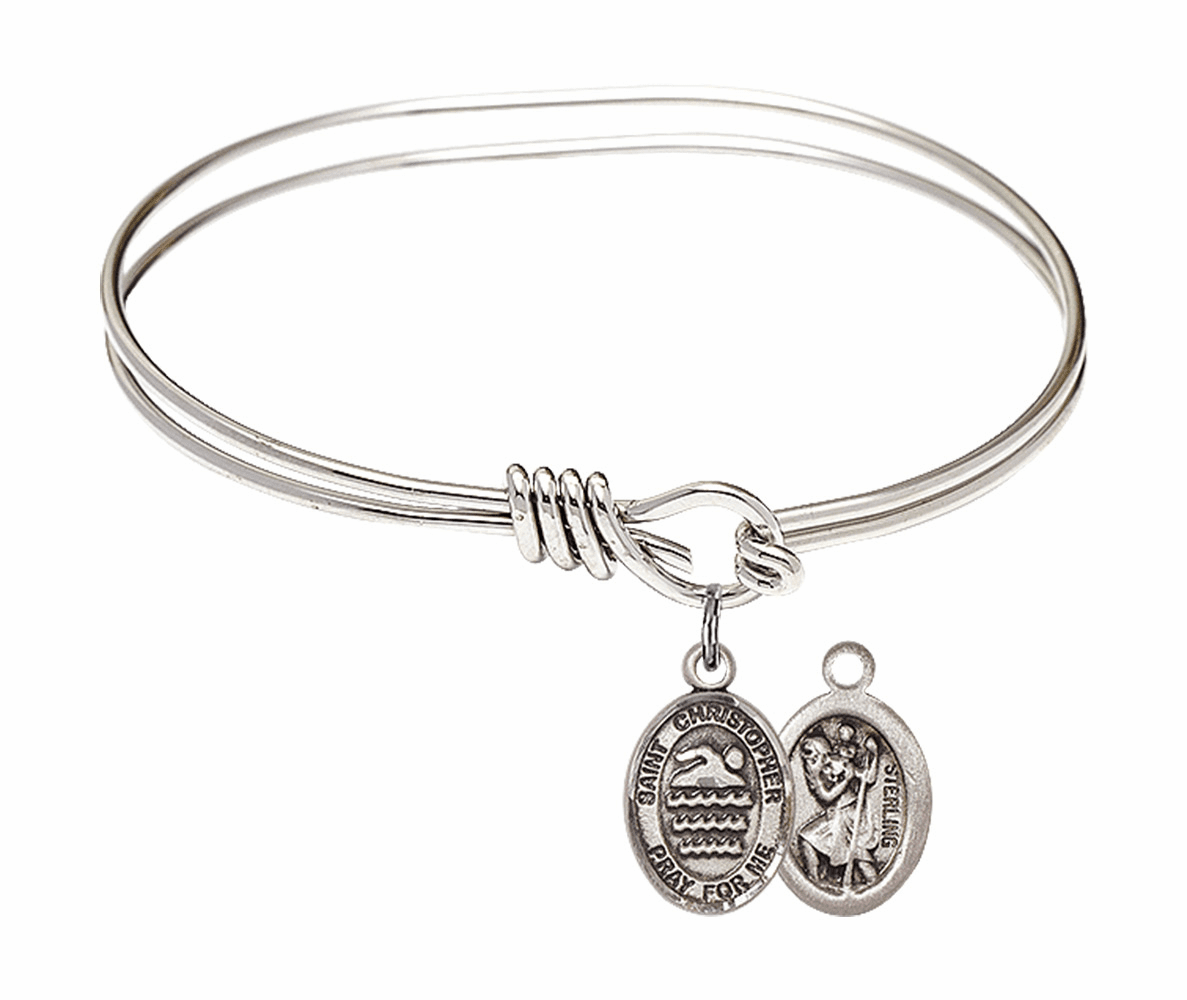 Round Eye Hook St Christopher Swimming Bangle Charm Bracelet by Bliss