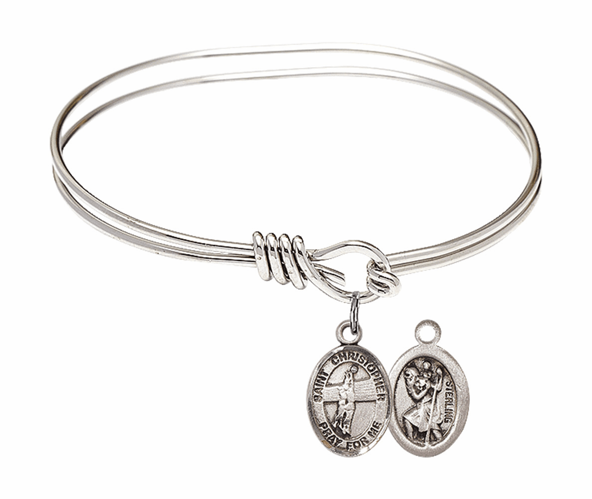 Round Eye Hook St Christopher Volleyball Bangle Charm Bracelet by Bliss
