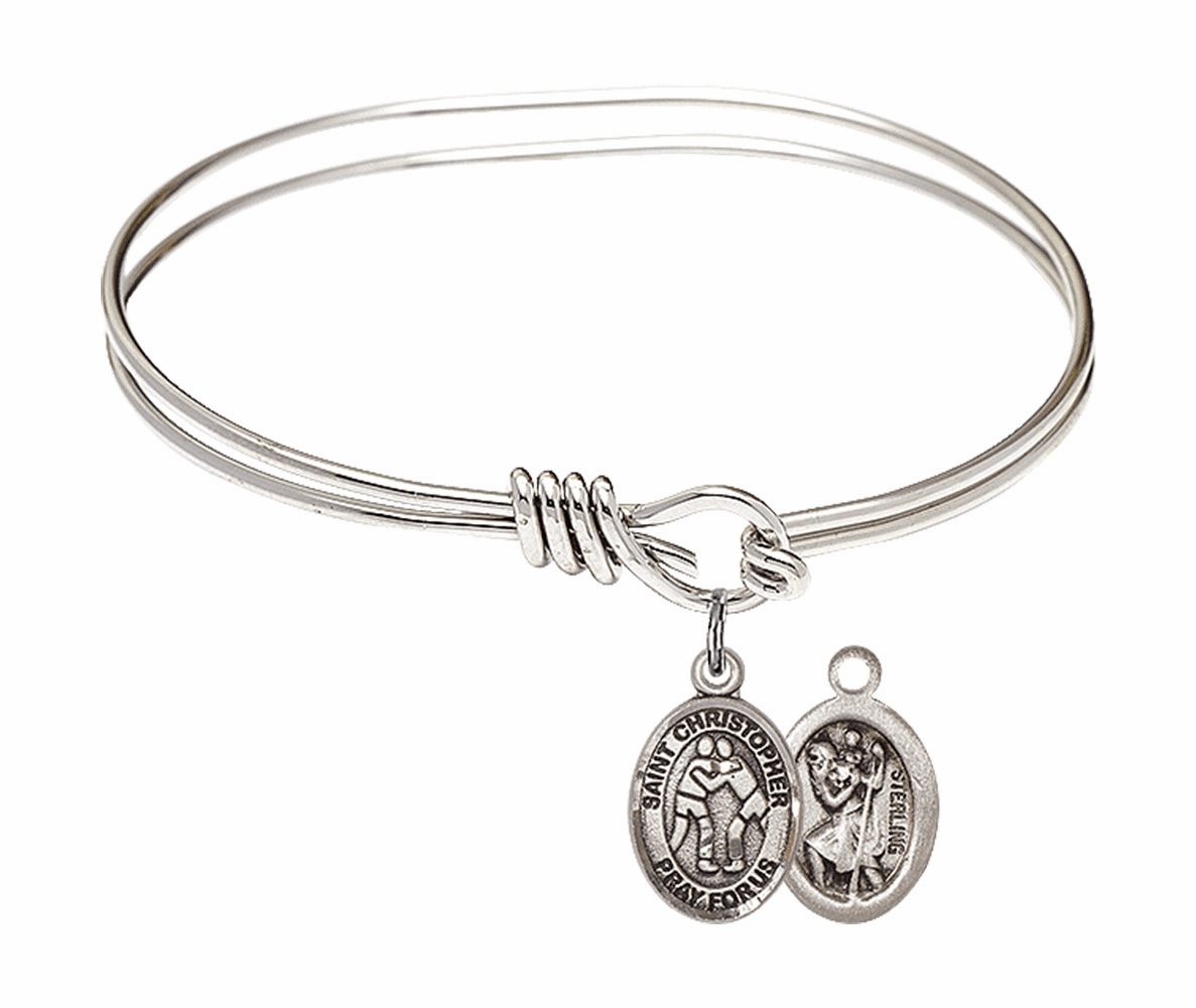 Round Eye Hook St Christopher Wrestling Bangle Charm Bracelet by Bliss