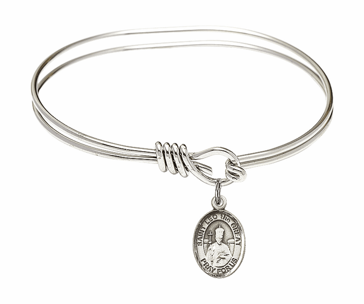 Round Eye Hook St Leo the Great Bangle Charm Bracelet by Bliss