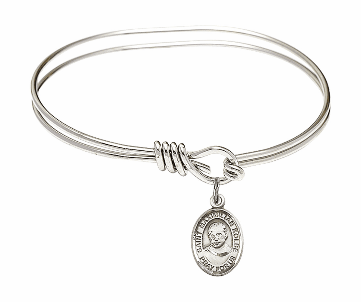Round Eye Hook St Maximilian Kolbe Bangle Charm Bracelet by Bliss
