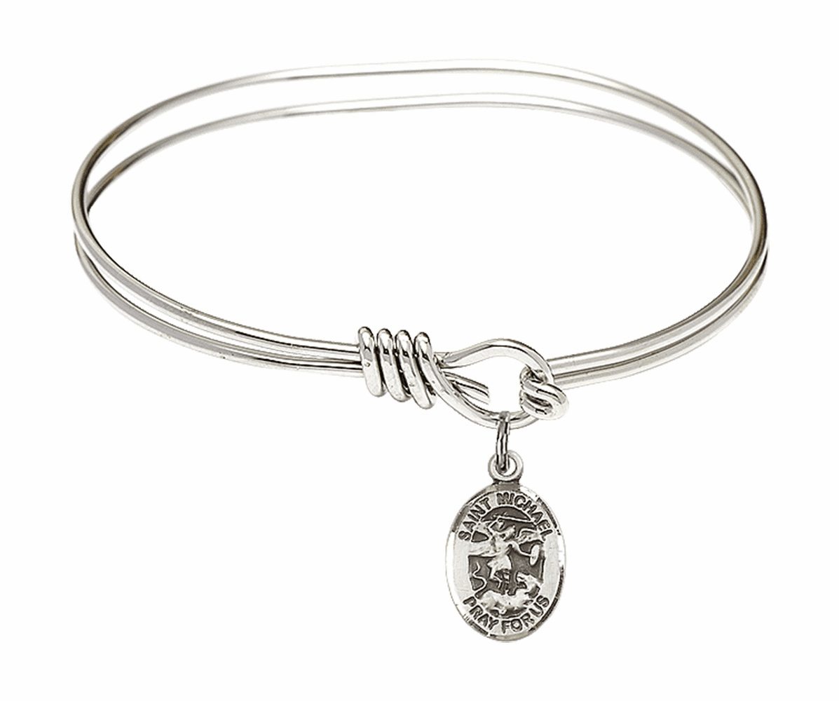 Round Eye Hook St Michael the Archangel Bangle Charm Bracelet by Bliss