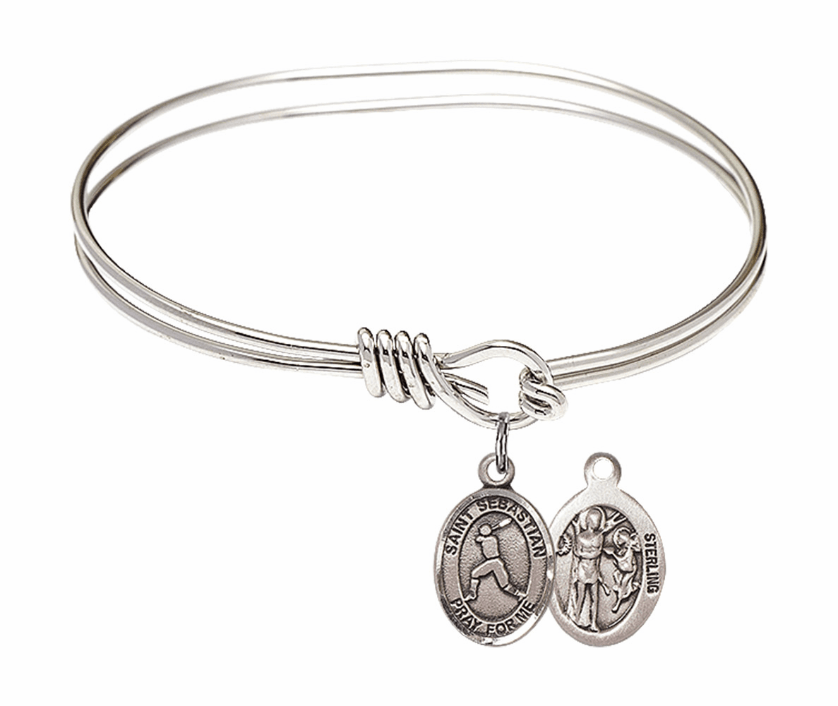Round Eye Hook St Sebastian Baseball Bangle Charm Bracelet by Bliss