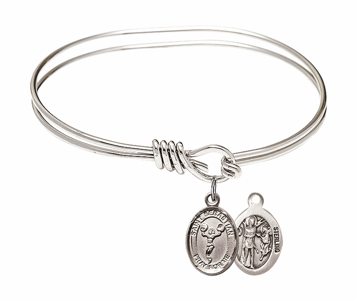 Round Eye Hook St Sebastian Cheerleading Bangle Charm Bracelet by Bliss