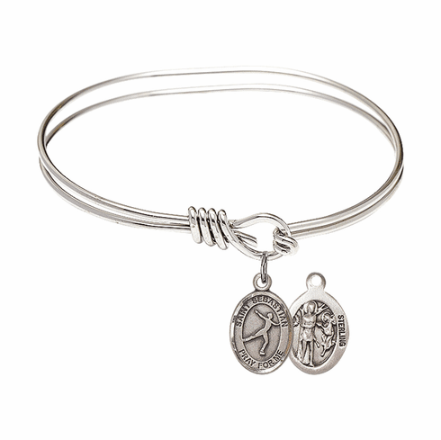 Round Eye Hook St Sebastian Figure Skating Bangle Charm Bracelet by Bliss