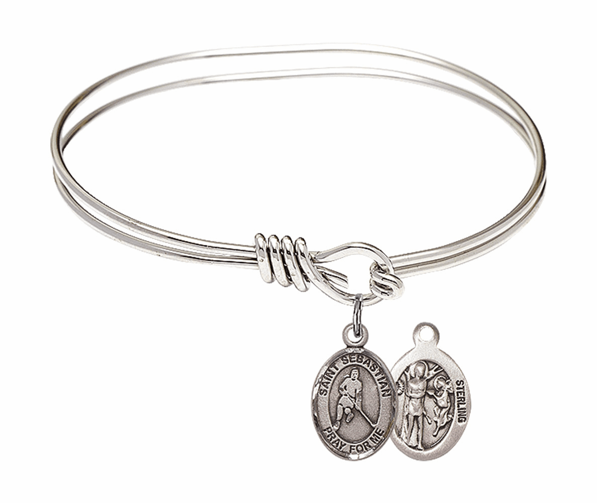 Round Eye Hook St Sebastian Ice Hockey Bangle Charm Bracelet by Bliss