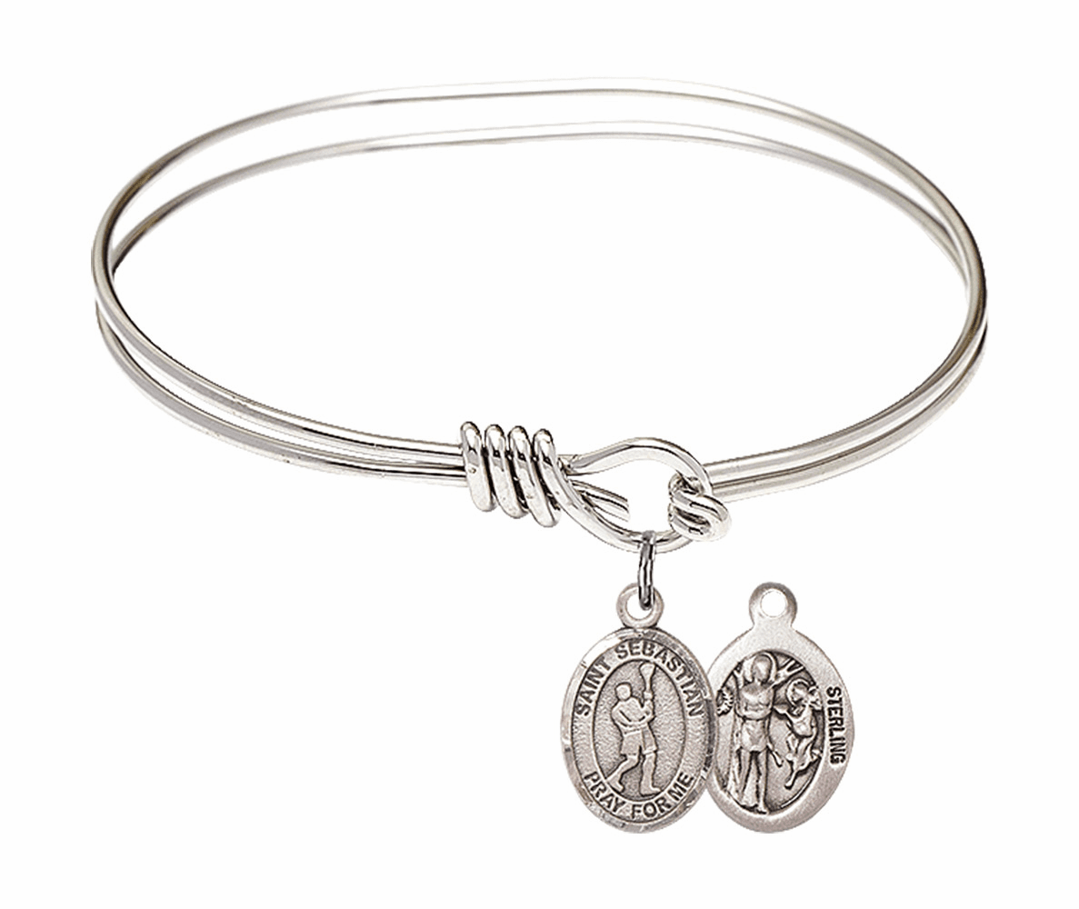 Round Eye Hook St Sebastian Lacrosse Bangle Charm Bracelet by Bliss