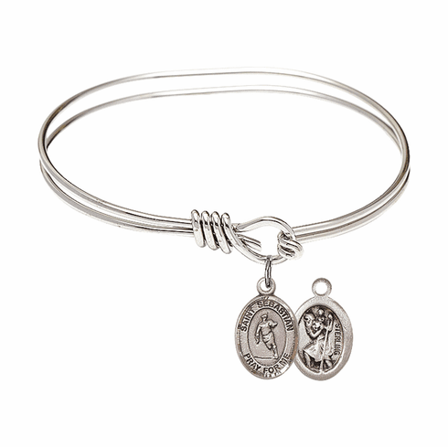 Round Eye Hook St Sebastian Rugby  Bangle Charm Bracelet by Bliss