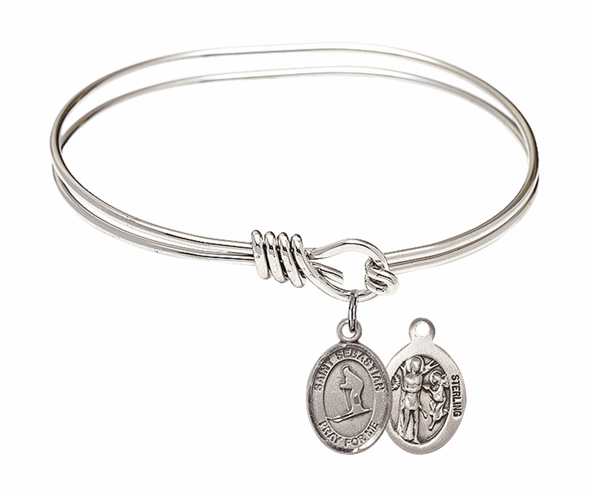 Round Eye Hook St Sebastian Skiing Bangle Charm Bracelet by Bliss
