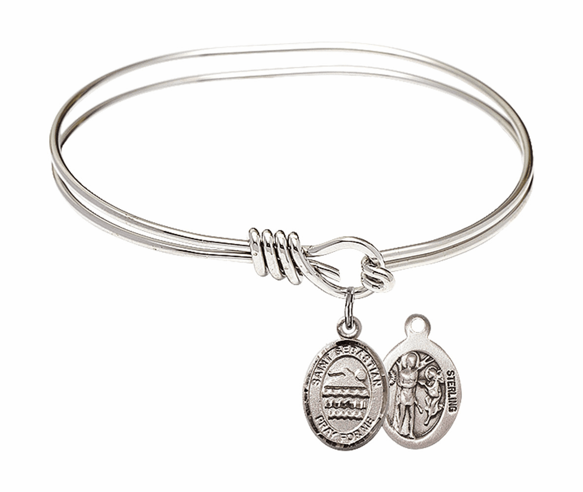 Round Eye Hook St Sebastian Swimming Bangle Charm Bracelet by Bliss