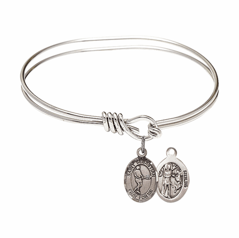 Round Eye Hook St Sebastian Tennis Bangle Charm Bracelet by Bliss