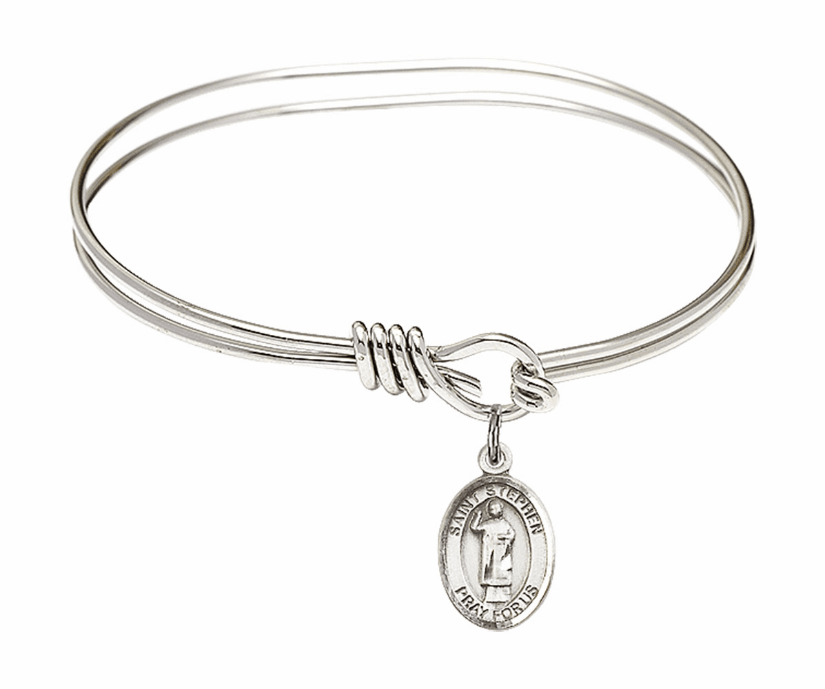 Round Eye Hook St Stephen the Martyr Bangle Charm Bracelet by Bliss
