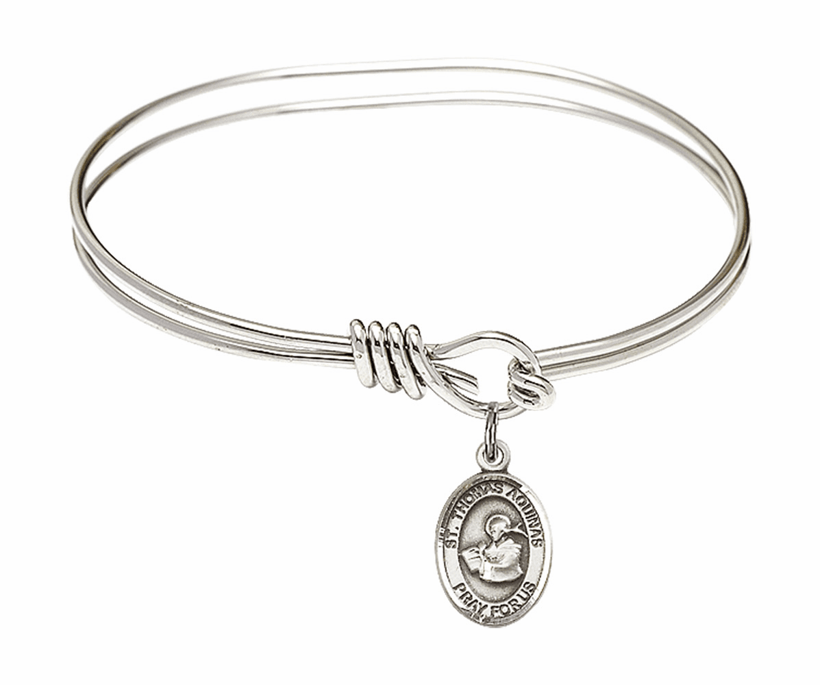 Round Eye Hook St Thomas Aquinas Bangle Charm Bracelet by Bliss