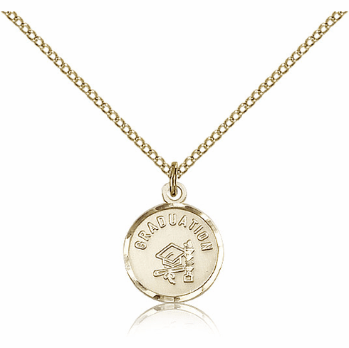 Round Gradution Hat And Diploma 14kt Gold-filled Pendant w/Chain by Bliss